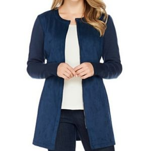 H by Halston Faux Suede Knit Zippered Tied Jacket